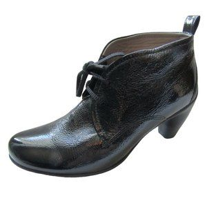 Ecco Black Crinkled Leather Heeled Boots 7.5